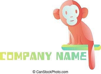 Pink monkey logo vector illustration on a white background