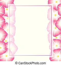 Pink Morning Glory Flower Banner Card Border. Vector...