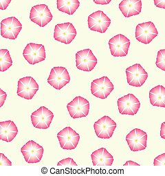 Pink Morning Glory Flower on Beige Ivory Background. Vector...