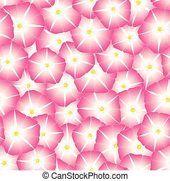 Pink Morning Glory Flower Seamless Background. Vector...