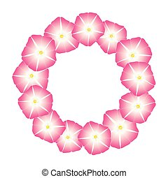 Pink Morning Glory Flower Wreath. Vector Illustration.