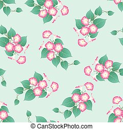 Pink Morning Glory on Green Mint Background. Vector...