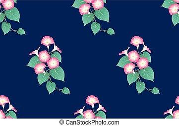 Pink Morning Glory Seamless on Indigo Blue Background....