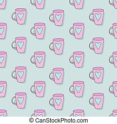 Pink mug with a picture of the heart