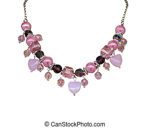 Pink Necklace with Hearts isolated with clipping path