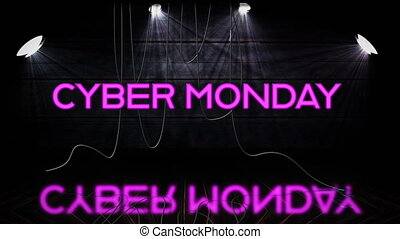 Pink neon Cyber Monday text appearing while spotlights turn ...