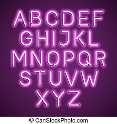 Pink neon light alphabet