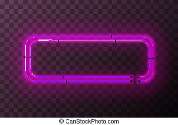 Pink neon rectangle frame, template on transparent background