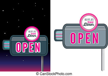 Pink neon signage retro vintage style for diner