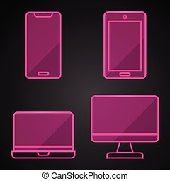 Pink neon technology icons on black background