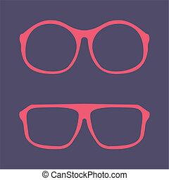 Pink nerd vector glasses