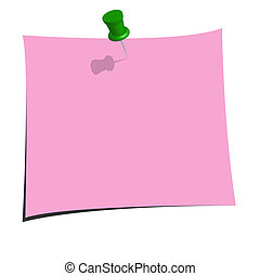 Pink Note - Illustration of a pink note on a white...