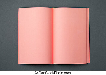 Pink notebook on two-tone gray background top view.