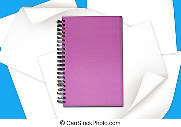 Pink Notebook over the Paper with curl edge