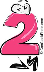 Pink number two with eyes, illustration, vector on white background.
