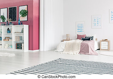 Pink open space interior - Striped carpet in bright open...