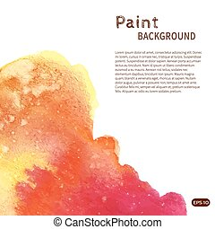 Pink orange watercolor paint background