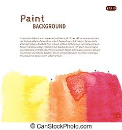 Pink orange watercolor paint background down