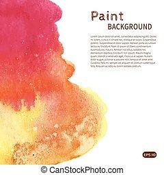 Pink orange watercolor paint background vertical left