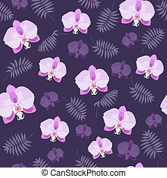Pink orchid and palm branch on the purple seamless pattern