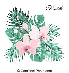 Pink orchid bouquet with green tropical leaves