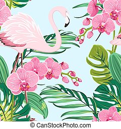 Pink orchid flamingo tropical leaves pattern blue