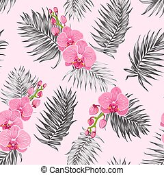 Pink orchid flowers jungle palm leaves pattern