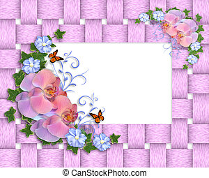 Pink orchids border