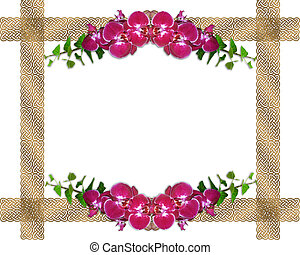 Pink orchids ivy border
