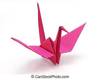 Pink origami bird on white background