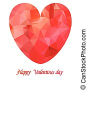 Pink origami heart on white backdrop with ribbon. Abstract polygonal heart. Love symbol. Lights and pink sparkles. Low-poly colorful style. Happy Mother day.