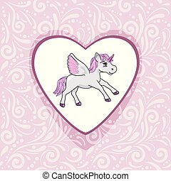 Pink ornamental background with happy unicorn for scrapbook
