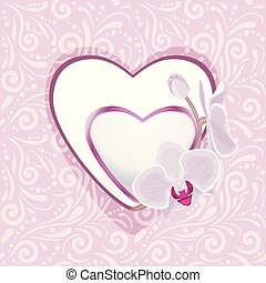 Pink ornamental pattern with hearts and orchids for scrapbook