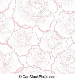 Pink outline roses on white seamless pattern