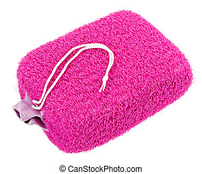 Pink oval bath sponge isolated on white