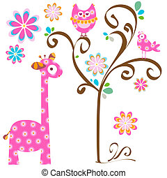 owl and giraffe - pink owl and giraffe