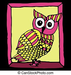 pink owl illustration