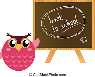 """Pink Owl showing """"back to school"""" sign on black board"""