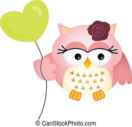 Scalable vectorial image representing a pink owl with balloon, isolated on white.
