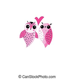 Pink owls in love on a white background