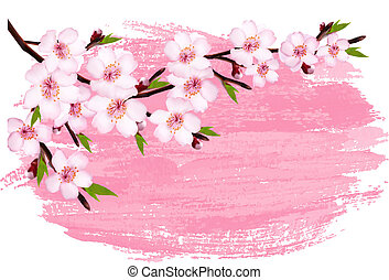 Pink paint sakura branch banner. Vector.