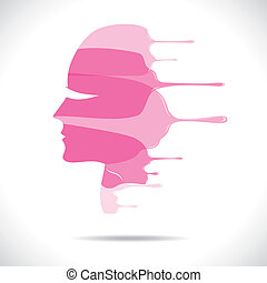 pink painted beautiful women face