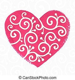 Pink painted heart with white ornament