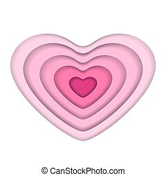 Pink paper art vector heart shape isolated on white background.