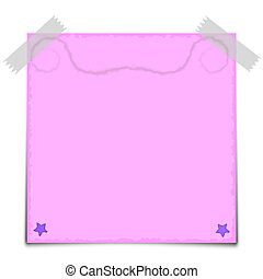 Pink Paper Note Vector