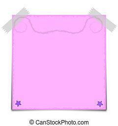 Pink Paper Note Vector