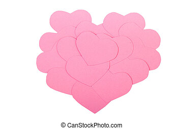 Pink paper Saint Valentines hearts isolated