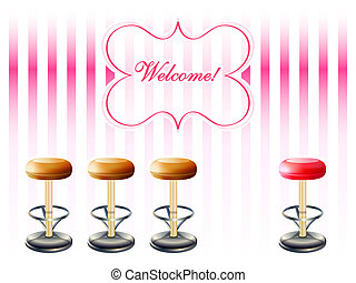 Bar stools over striped retro pink pattern with welcome frame