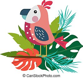 Summer illustration with a tropical bird on a branch and different leaves.