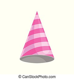 Pink party hat, celebration party symbol cartoon vector Illustration on a white background